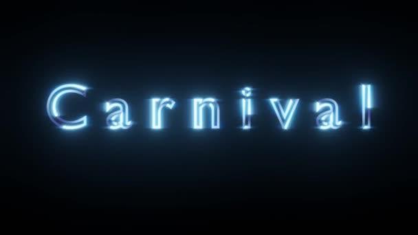 Karnevalsgelber Neon-Text auf schwarzem Isolat. 3D-Darstellung. Grußkarten Design, Vintage Disco Stil.
