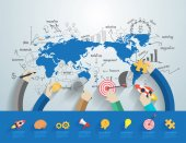 Fotografie Business people working office corporate team concept on world map