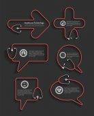 Rotes Stethoskop in Form von Sprechblasen kreatives Design