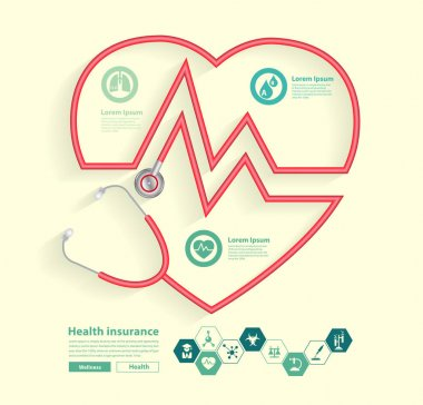 Red Stethoscope in shape of heart with science icons
