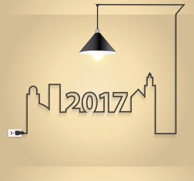 Cityscape with creative wire light bulb idea concept in wall roo