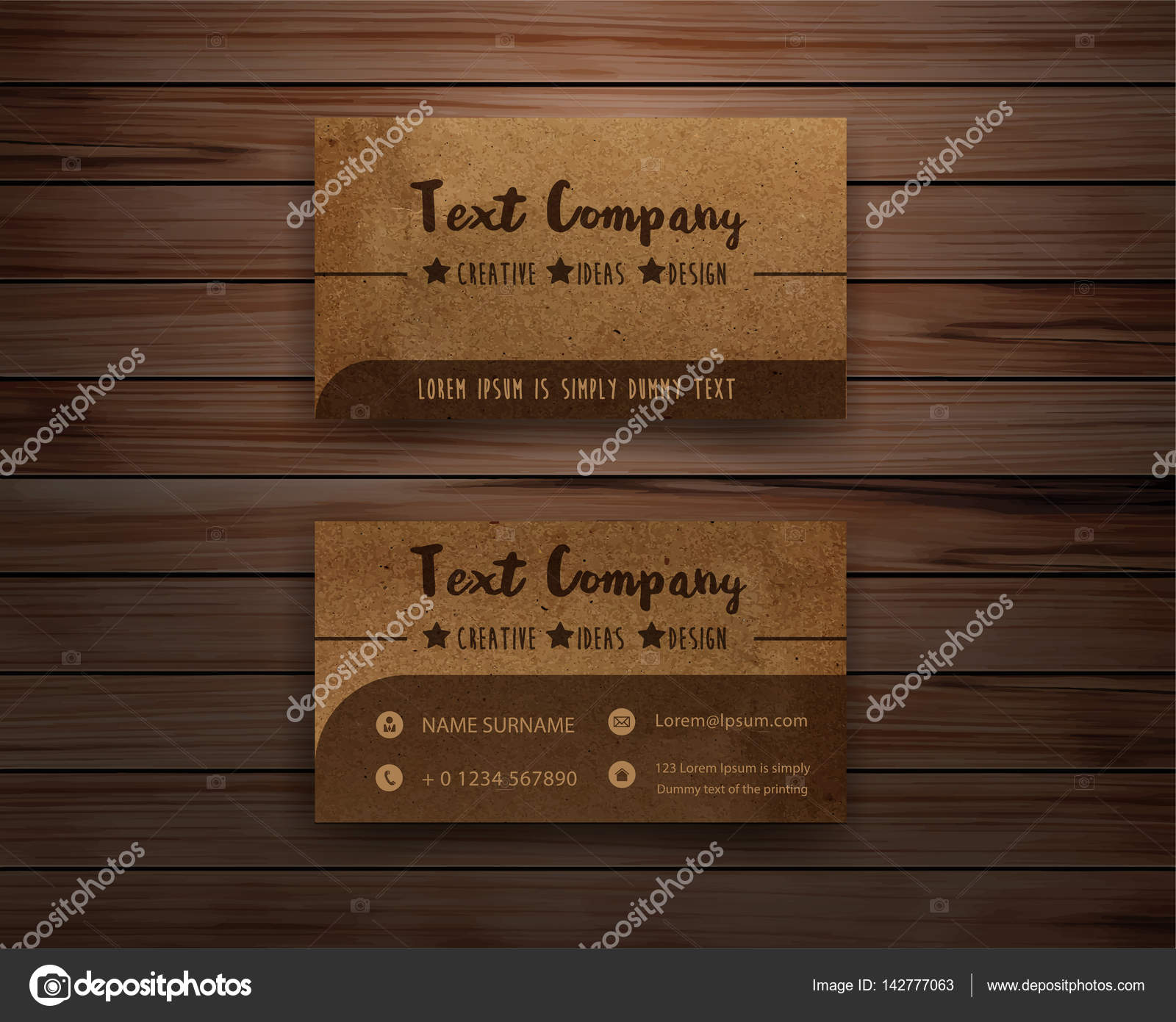 Vector recycled paper business cards on wooden background — Stock ...