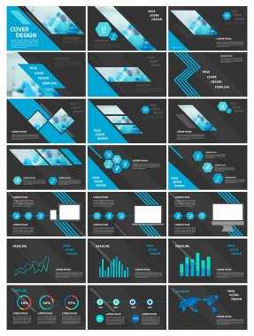 Blue and black elements for infographics. Presentation templates