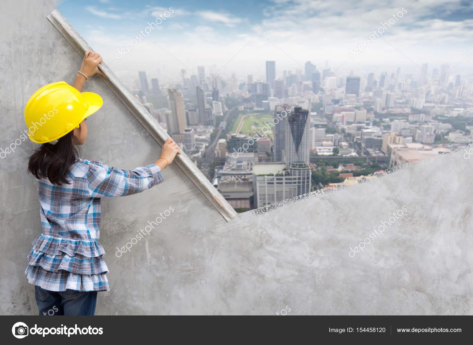 Kleine meisje engineering ideeën concept u stockfoto koydesign