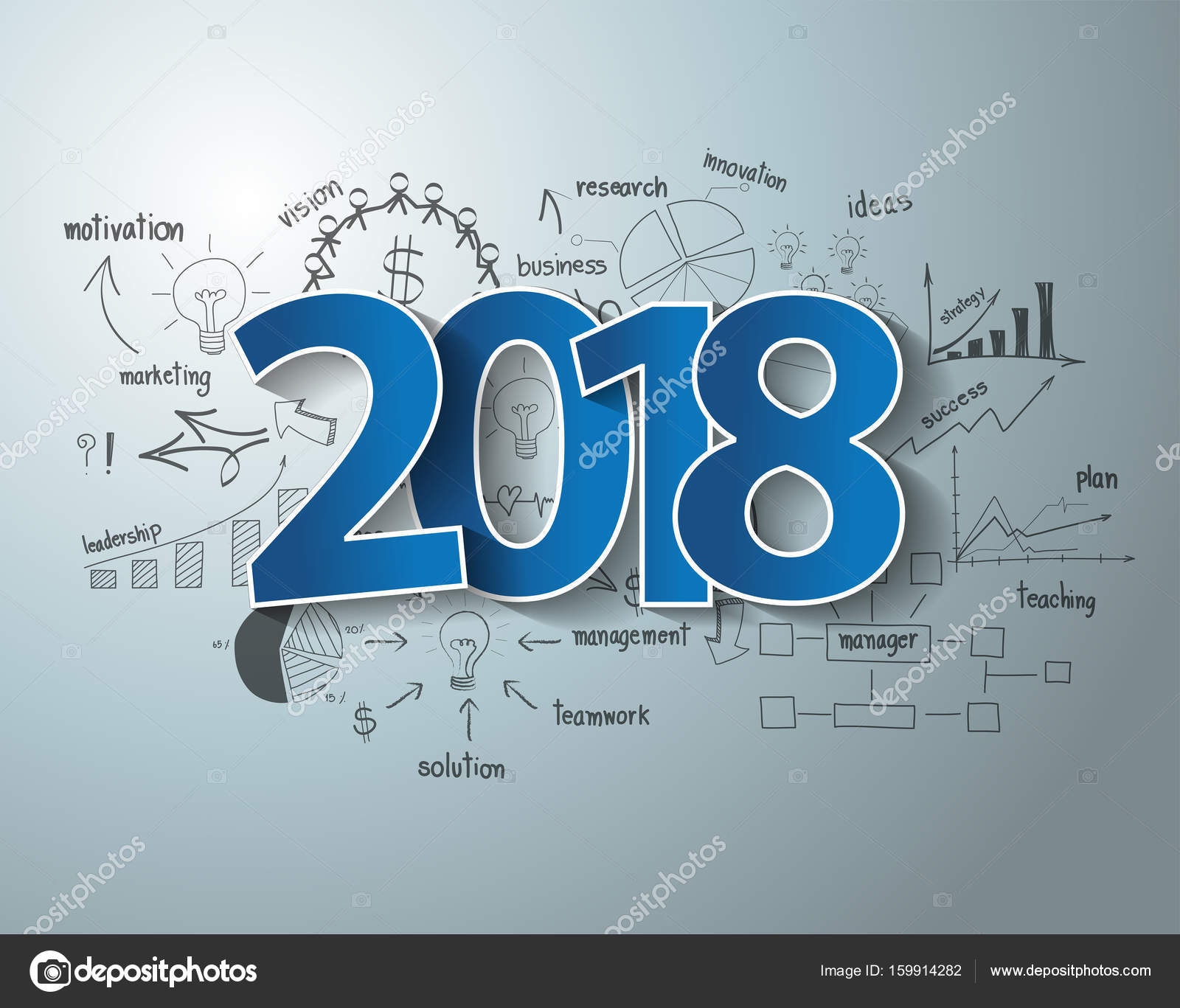 Blue tags label 2018 text design on drawing charts and graphs ...
