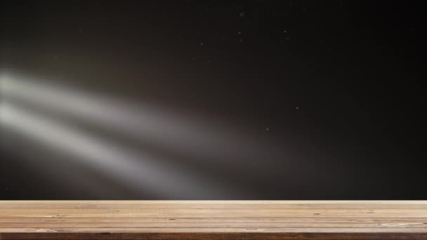 Dřevěné police tabulka s blikající světla jasná fáze
