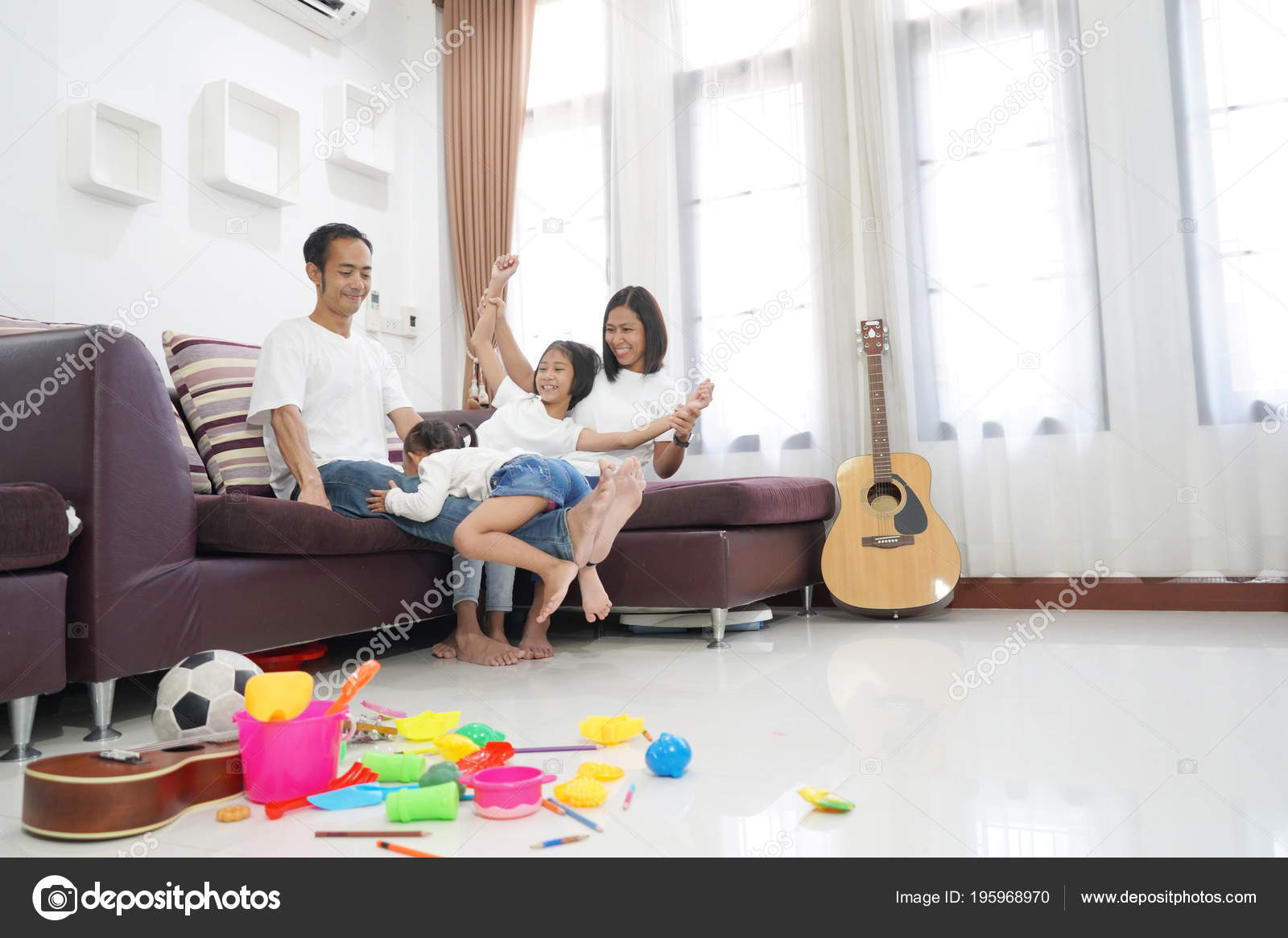 Happy Asian Family Living Room Home Togetherness Relaxation Concept ...