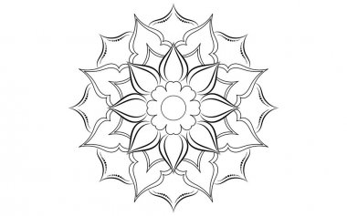 Circle pattern petal flower of mandala with black and white,Vector floral mandala relaxation patterns unique design with white background,Hand drawn pattern,concept meditation and relax