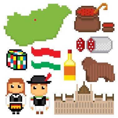 Hungary icons set. Pixel art.
