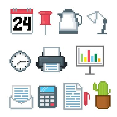 Office pixel art icons set