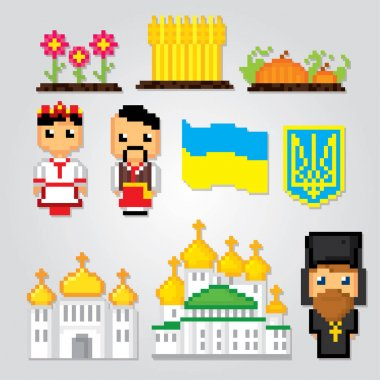 Ukraine pixel art icons set