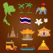 thailand icons set. Pixelkunst. Computergrafik der alten Schule. Spielelemente.