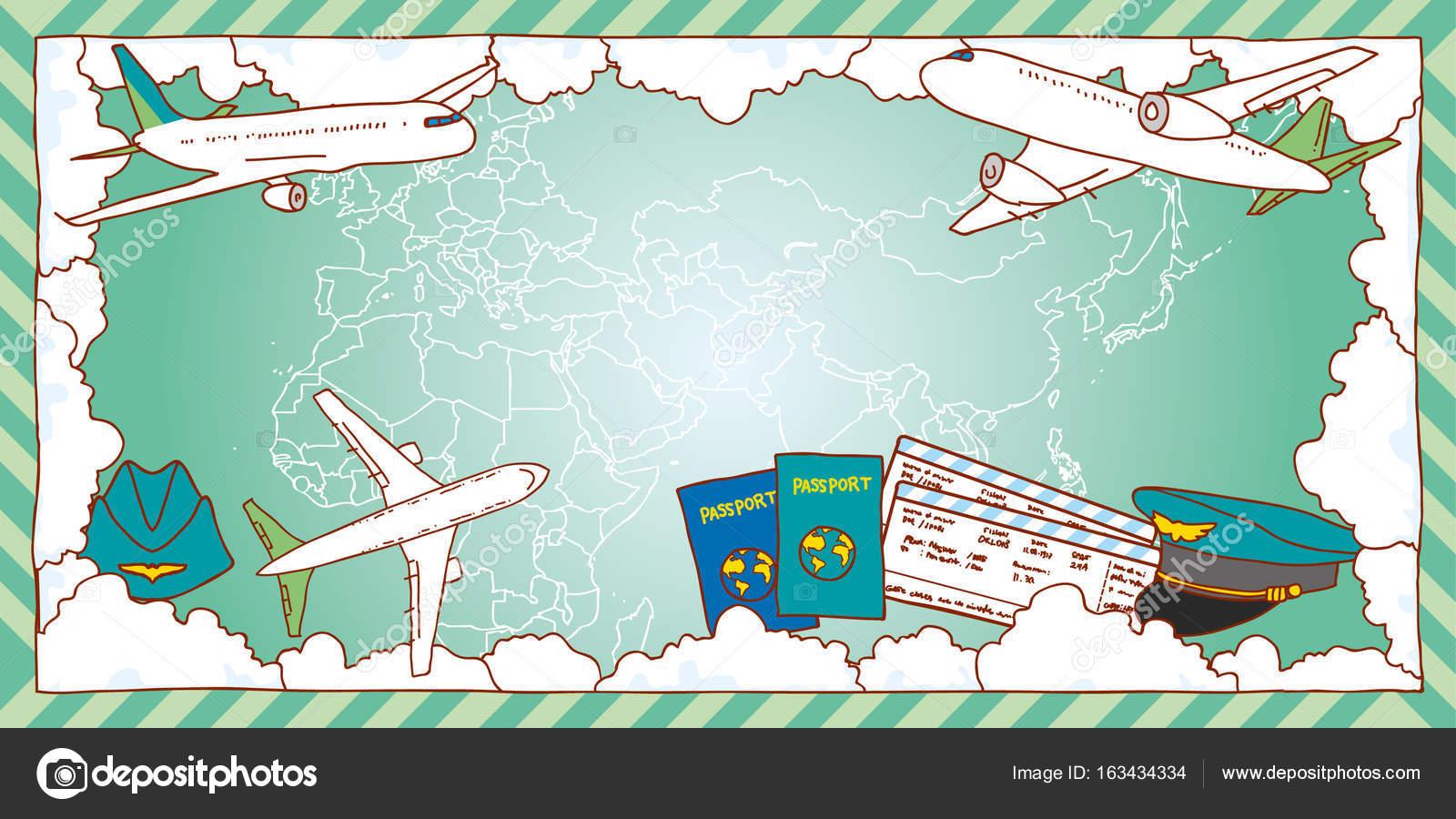 06553c8a47 Marco de concepto de viaje de aire. Mapa del mundo
