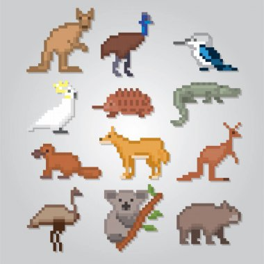 Australian animals icons set. Pixel art. Old school computer graphic style. Games elements.