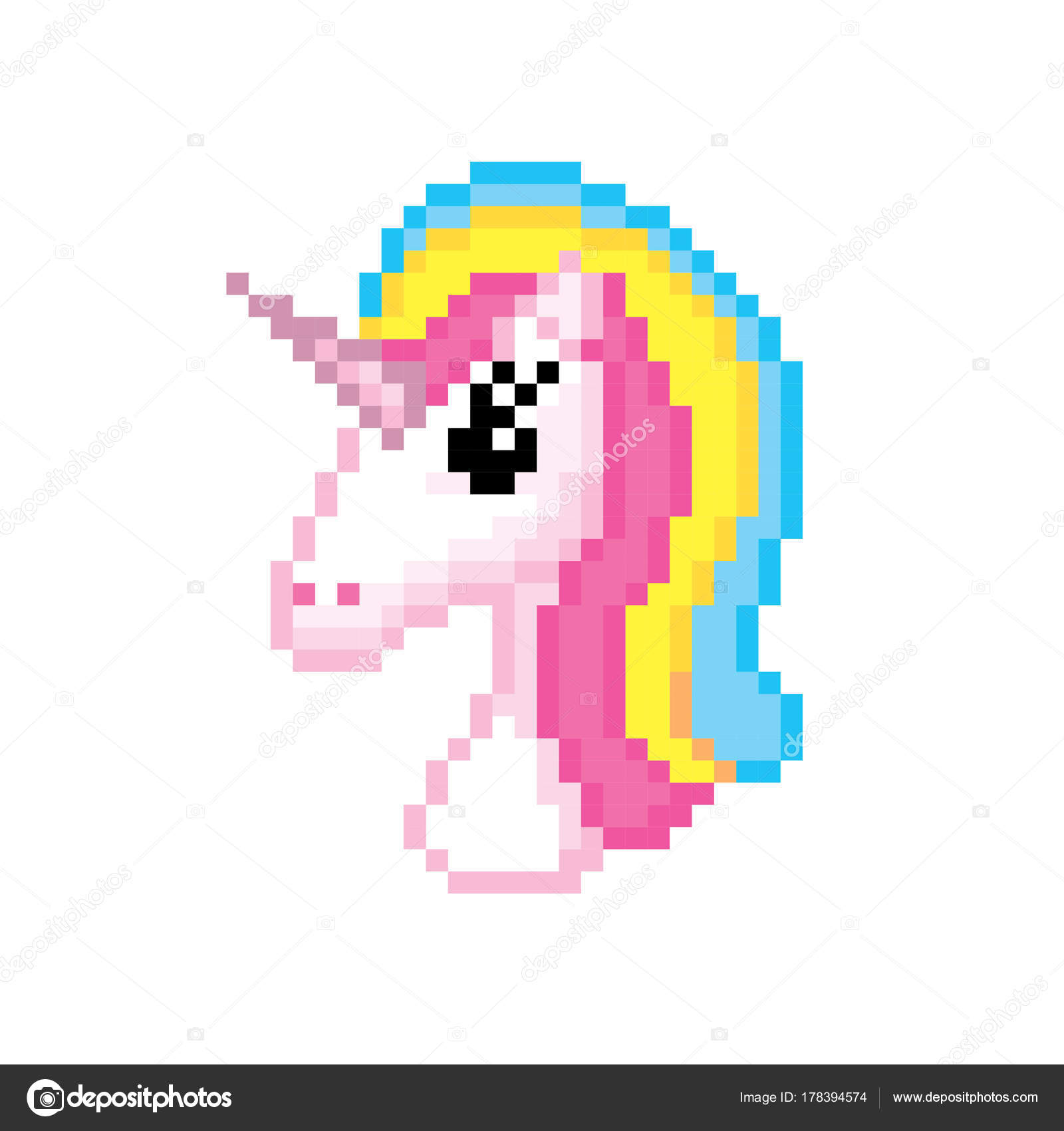 Unicorn Icon Pixel Art Old School Computer Graphic Style