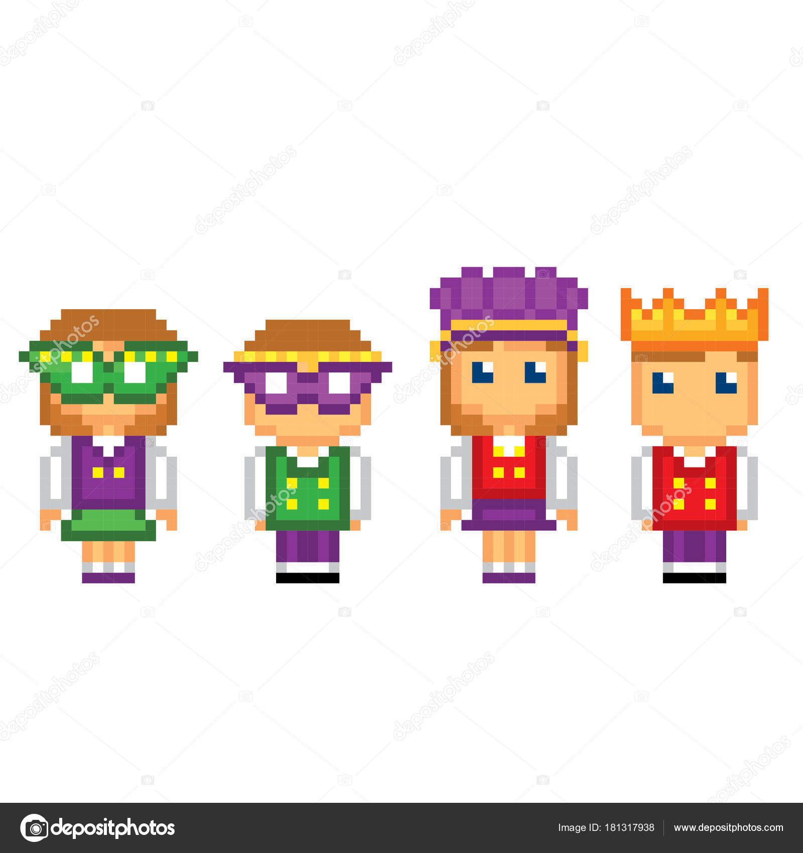Mardi Gras Carnival Costume Icons Set Pixel Art Old School