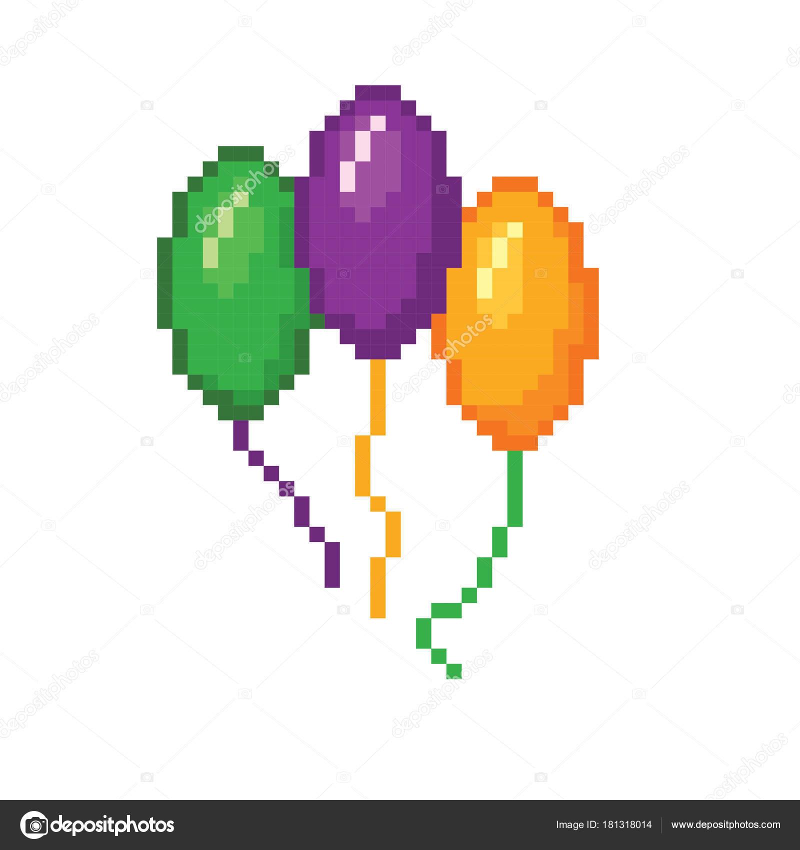 Balões De Carnaval Arte De Pixel Velha Escola Estilo
