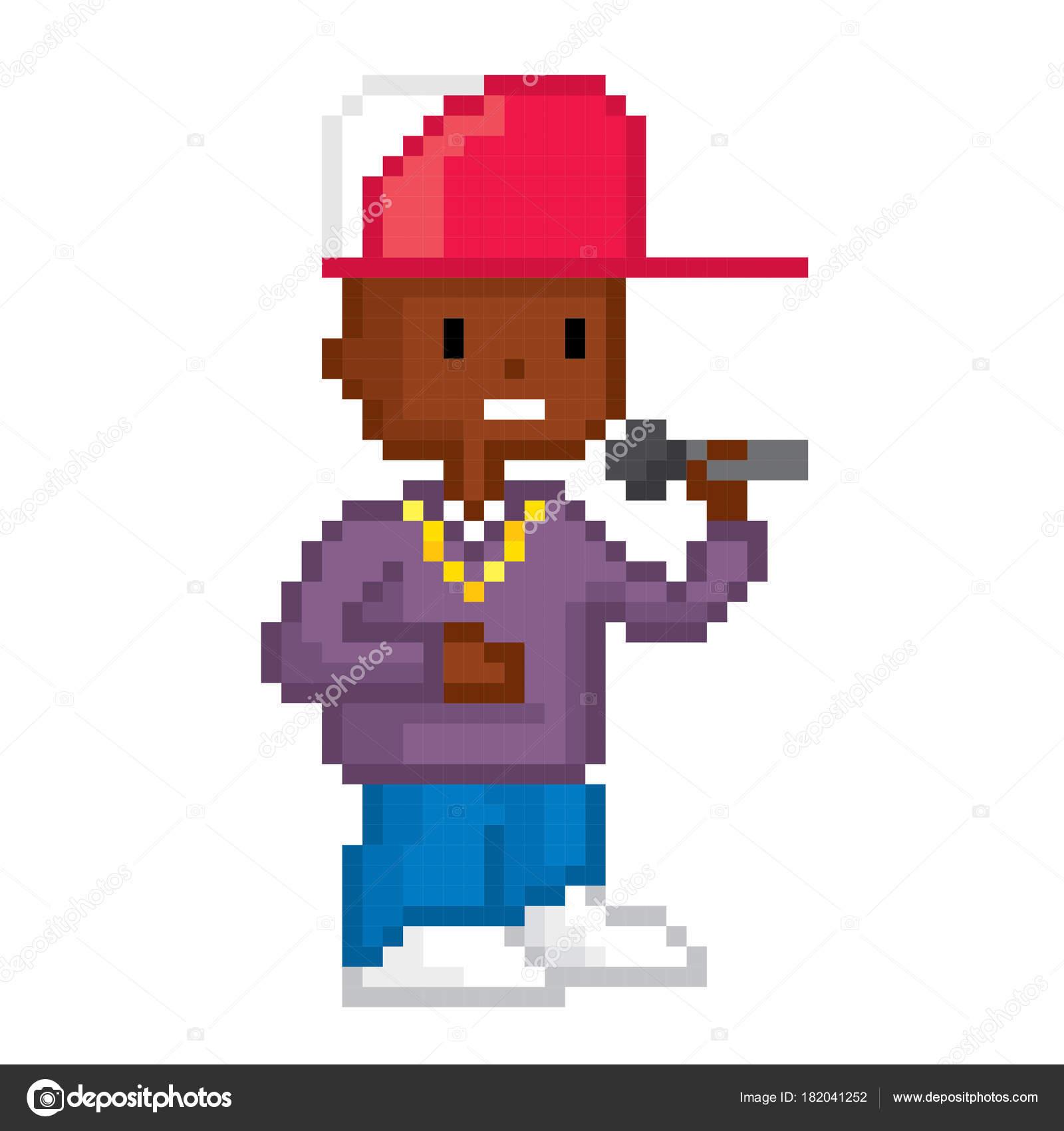 Garçon De Hip Hop De Rappeur Pixelart Style Graphique De
