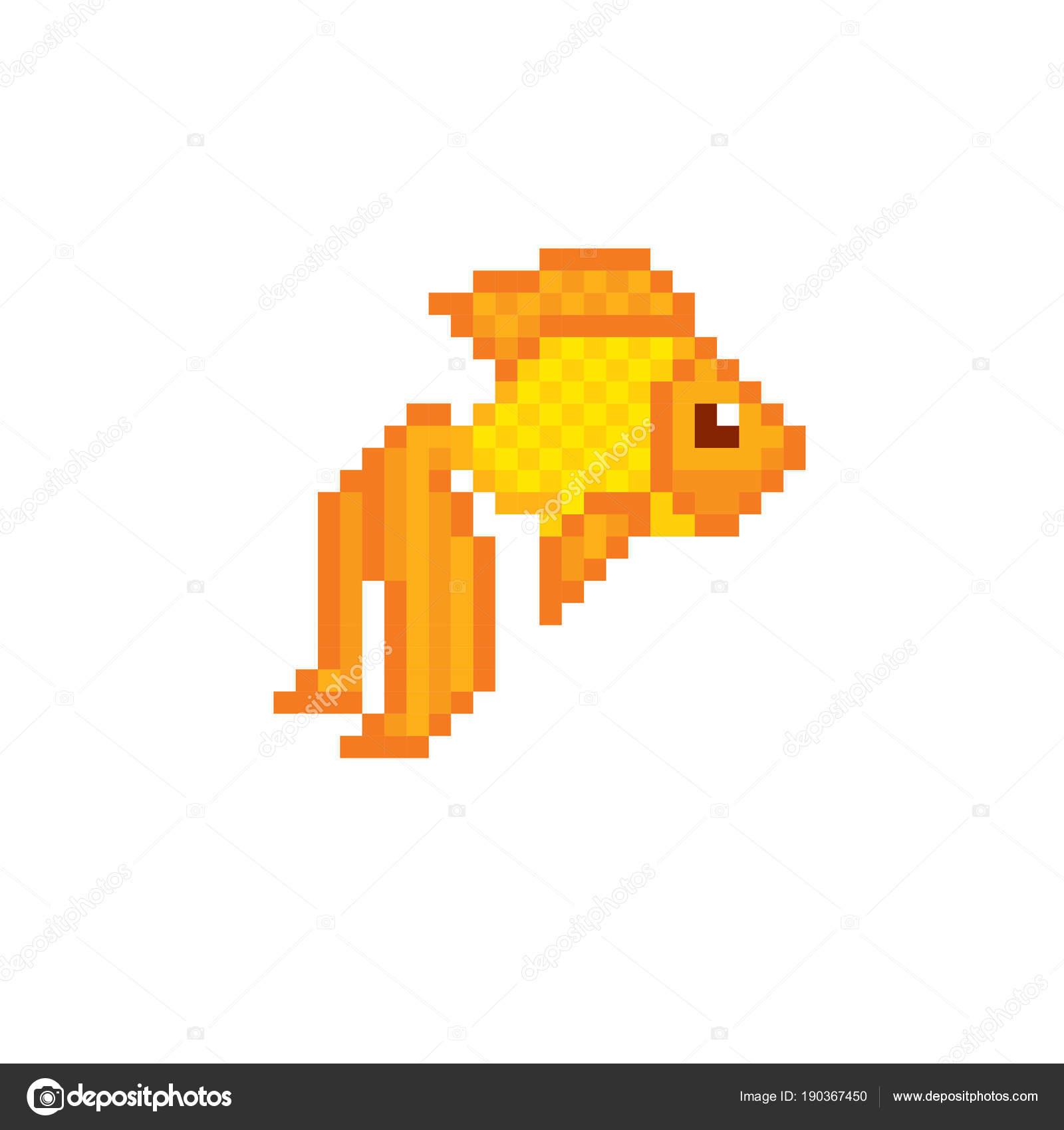 Gold Fish Pixel Icon Pixel Art Old School Computer Graphic 8 Bit