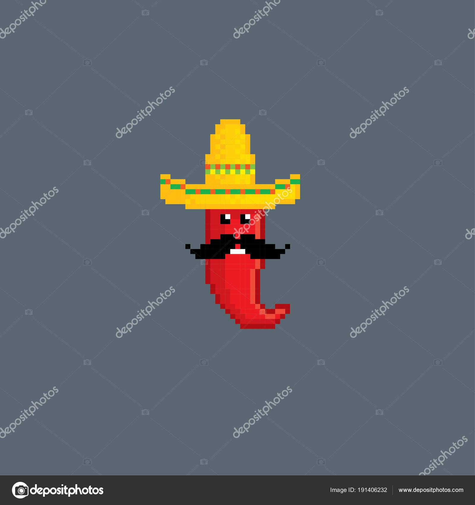Red Pepper In Sombrero Pixel Art Old School Computer Graphic Style