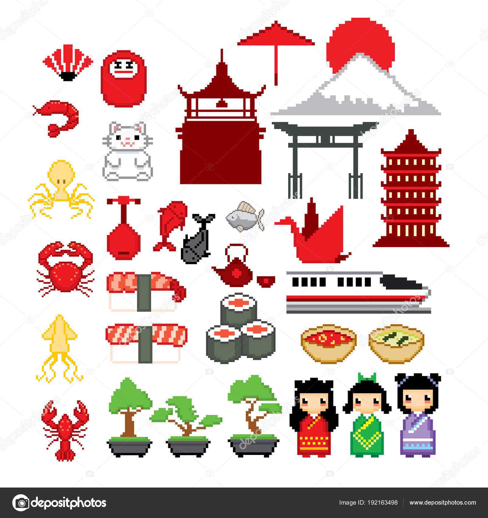 Japan Culture Icon Set Pixel Art Old School Computer Graphic 8