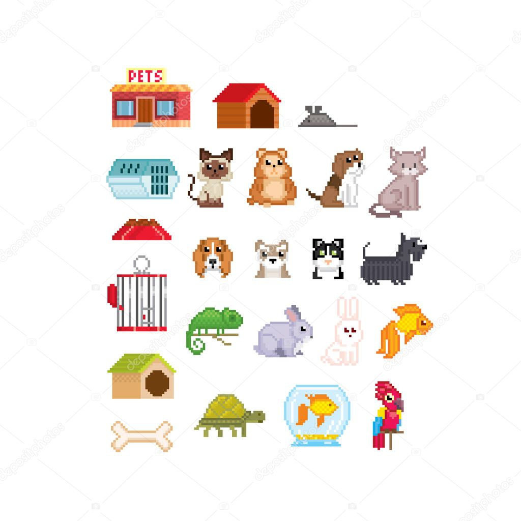 Pet Accessories Set Cat Dog Aquarium Fish Parrot And Turtle Isolated Vector Illustration Pixel Art 80s Style Icons Stickers And Embroidery Design Logo Design For Pet Shops Mobile Applications Premium Vector