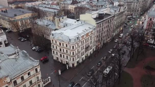 Das Stadtzentrum von St. Petersburg aus der Luft. Der Schnittpunkt von fünf Ecken. RUSSLAND Dachaussicht bei weißer Nacht des Newski Prospekts, Sankt-Petersburg, Russland