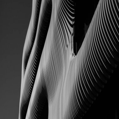 Parametric architecture facade with organic appearance. Abstract detail photo.