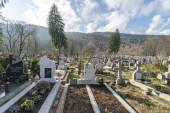 Sinaia, Prahova, Romania - November 19, 2019: View of the Sinaia Setu municipal cemetery, without people, near Bucegi Natural Park.
