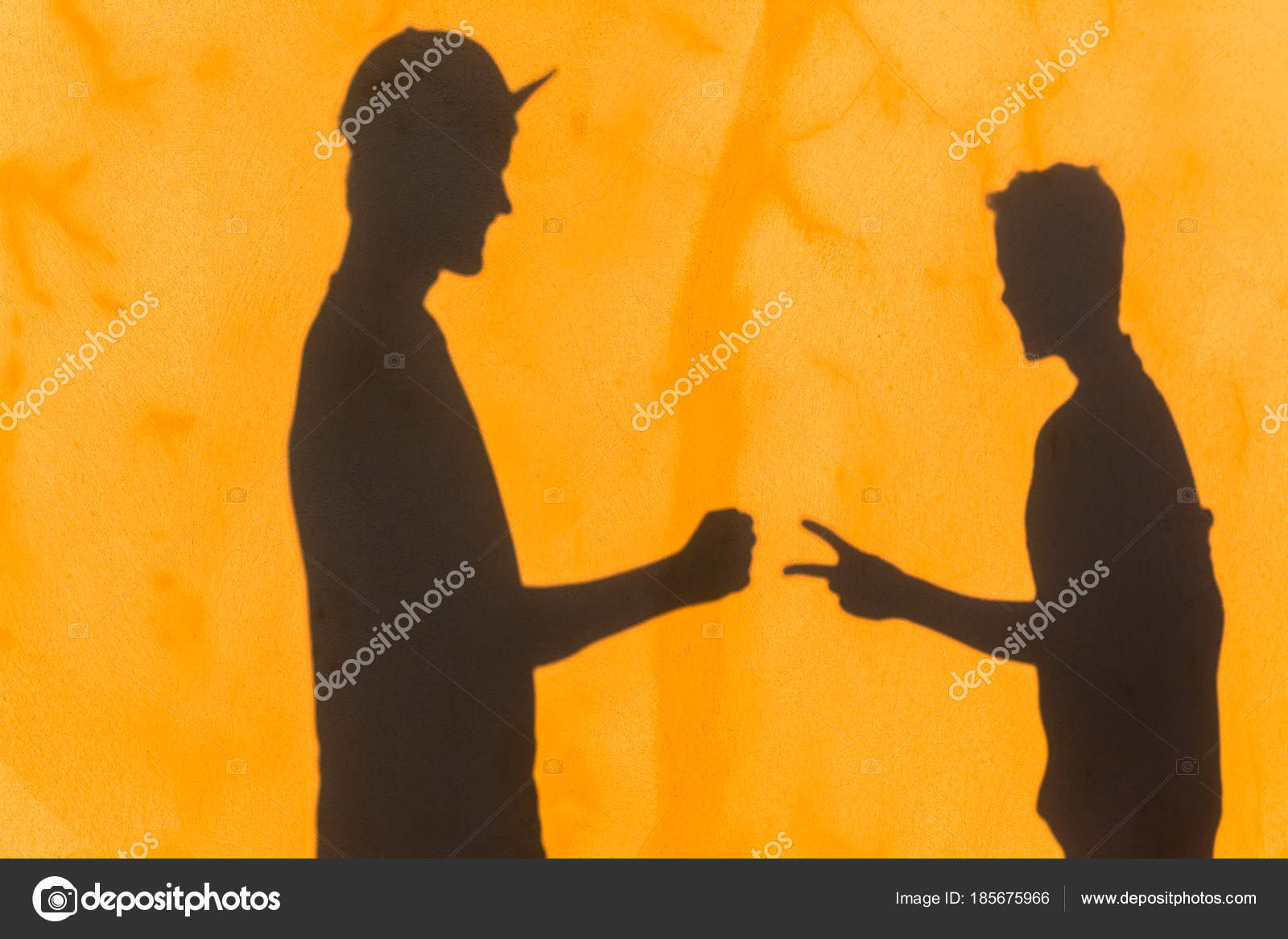 Teenagers Rock Paper Game Shadow Wall — Stock Photo ...