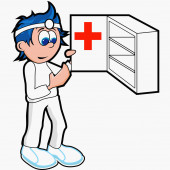 Doctor opening a first aid cabinet