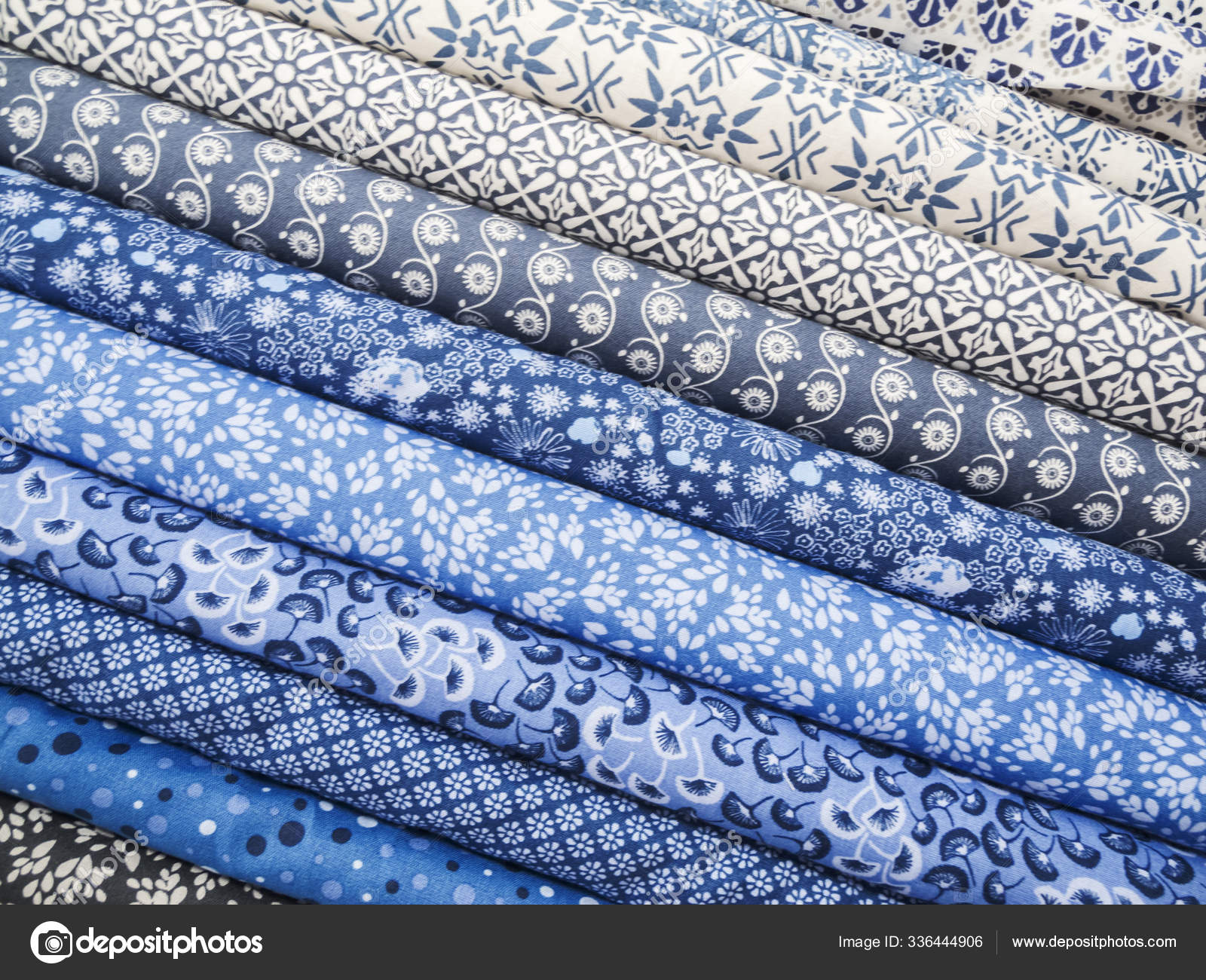 Full Frame View Different Patterned Fabric Balls Blue Stock Photo C Panthermediaseller 336444906