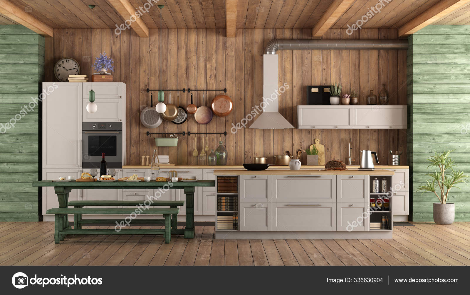 White Green Retro Kitchen Island Dining Table Bench Rendering Stock Photo C Panthermediaseller 336630904