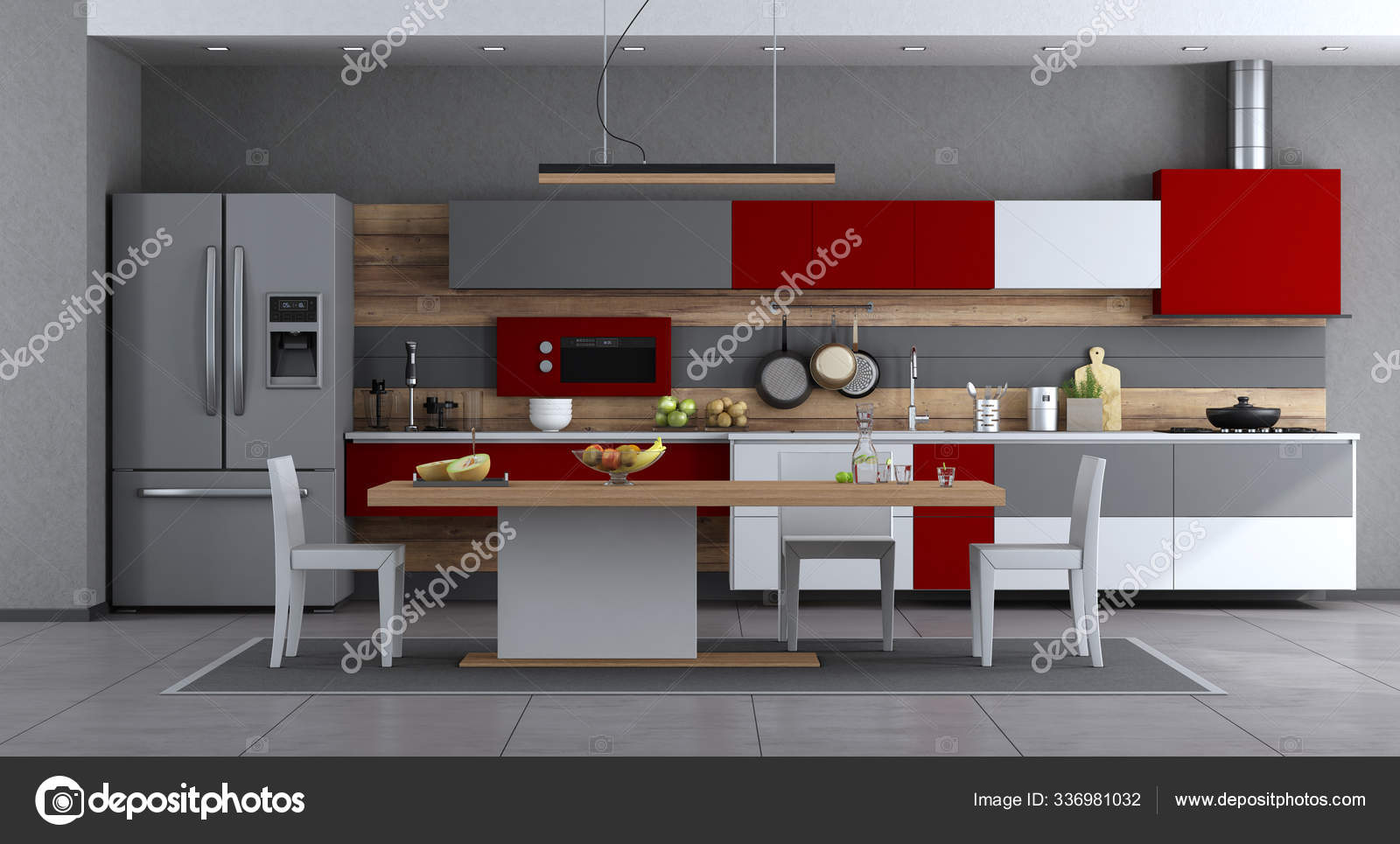 Picture of: Red White Gray Modern Kitchen Minimalist Dining Table Chairs Rendering Stock Photo C Panthermediaseller 336981032