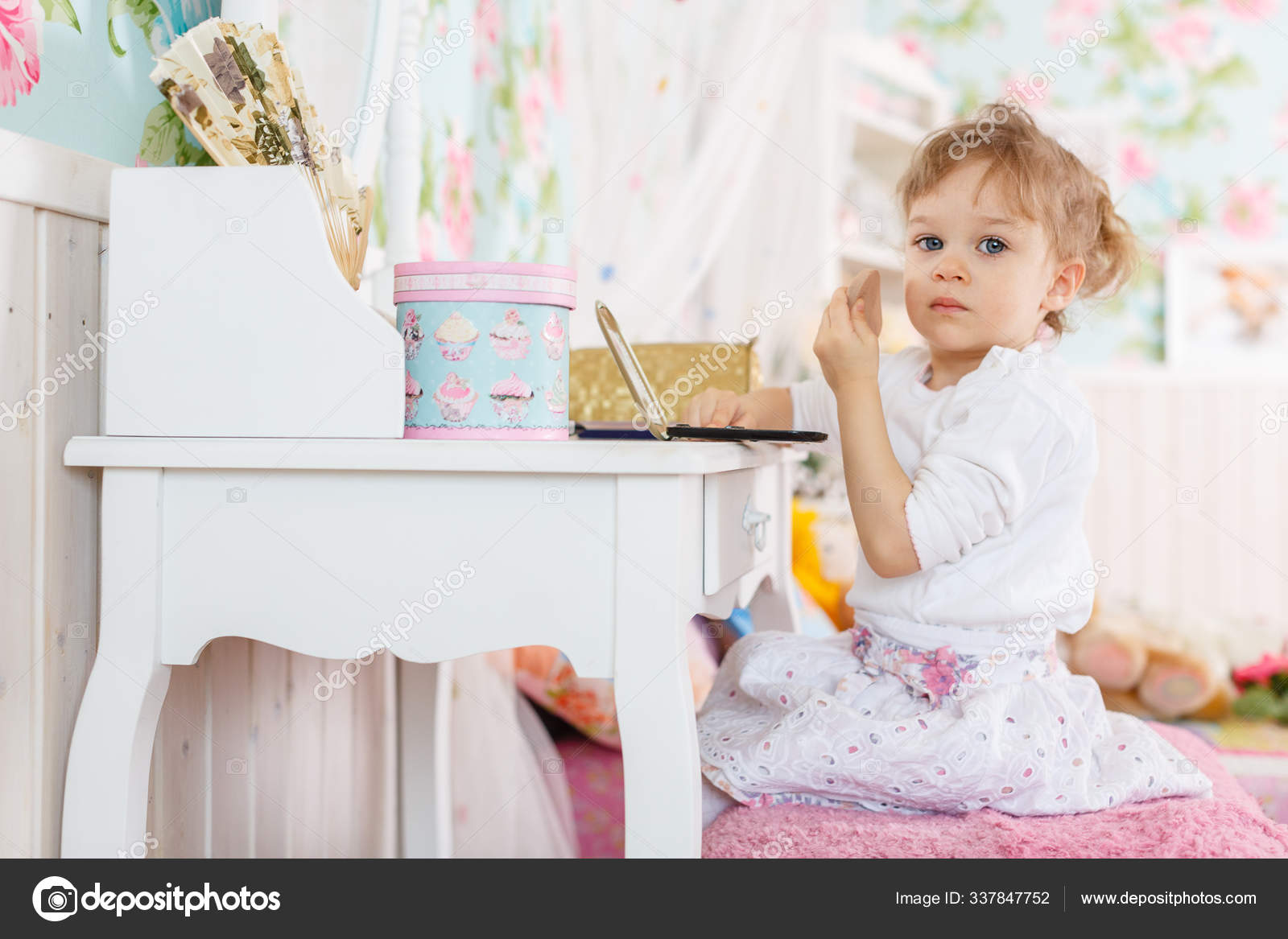 Pretty Little Girl Playing Cosmetics Dressing Table Room Year Old Stock Photo Image By C Panthermediaseller 337847752