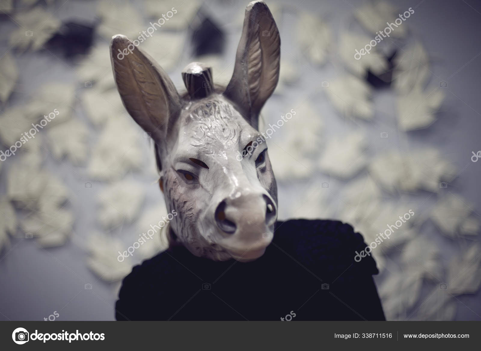 Woman Wearing Donkey Mask Doing Selfie Blured Color Photography — Stock Photo, Image