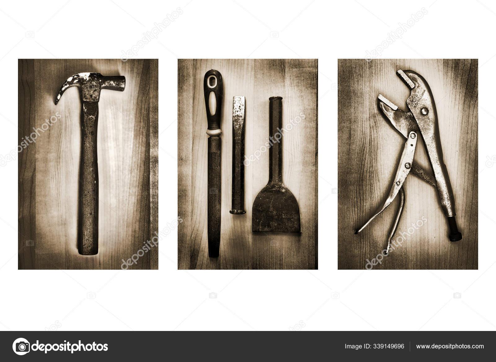 Set Dari Alat Alat Lama Dan Pisau Latar Belakang Putih Stok Foto C Panthermediaseller 339149696