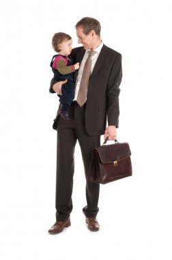 businessman with child on white background