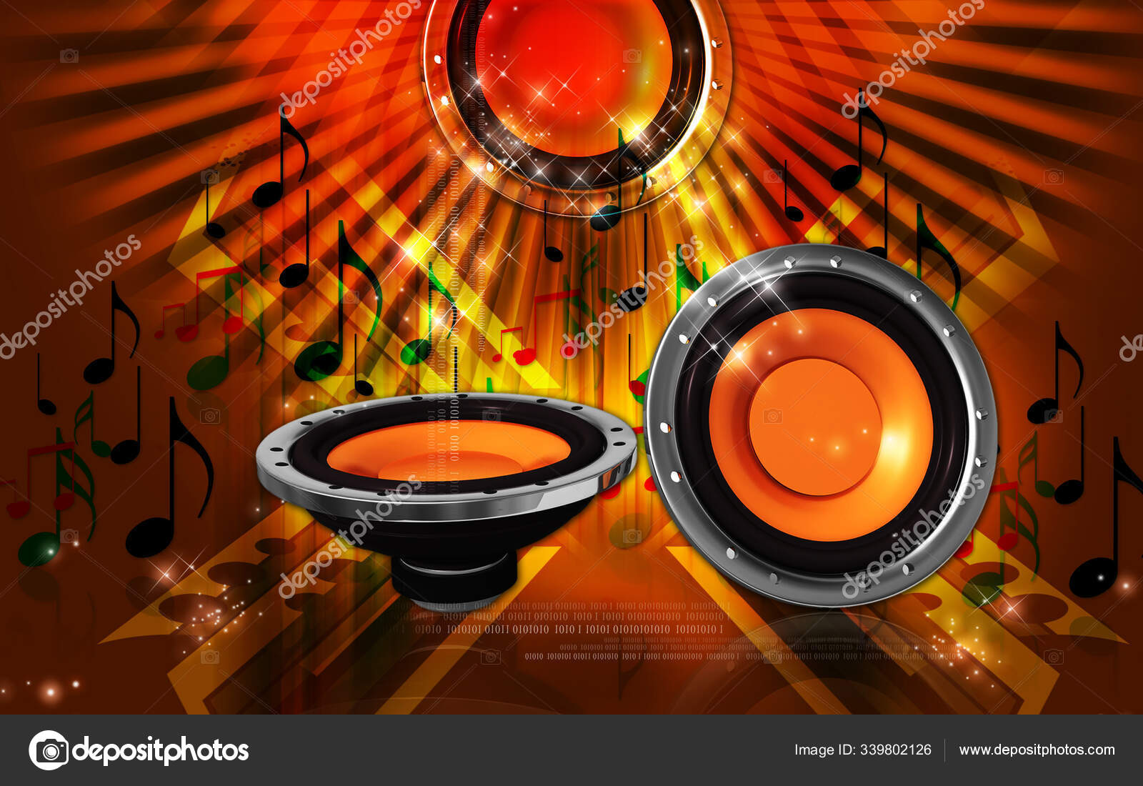 Digital Illustration Car Stereo Colour Background Stock Photo C Panthermediaseller 339802126