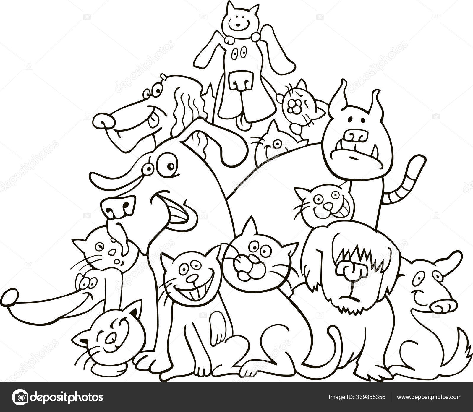 Кошки Собаки Иллюстрация Книги Раскраски — Стоковое фото ...