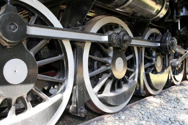 Wheels of a vintage Class 19D steam engine or locomotive
