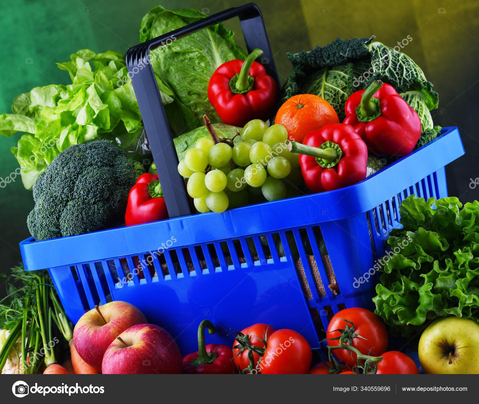 Свежие Органические Фрукты Овощи Пластиковой Корзине ...