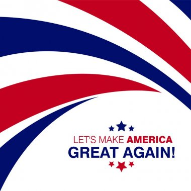 Lets make america great typography with flag design on background vector