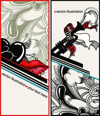 vector set of two abstract cards with a trumpet, red lips and a punctured heart
