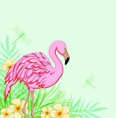 Tropical green background with pink flamingo and flowers