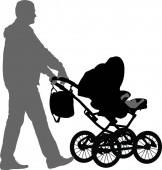 Black silhouettes father with pram on white background. Vector illustration. Black silhouettes father with pram on white background. Vector illustration.