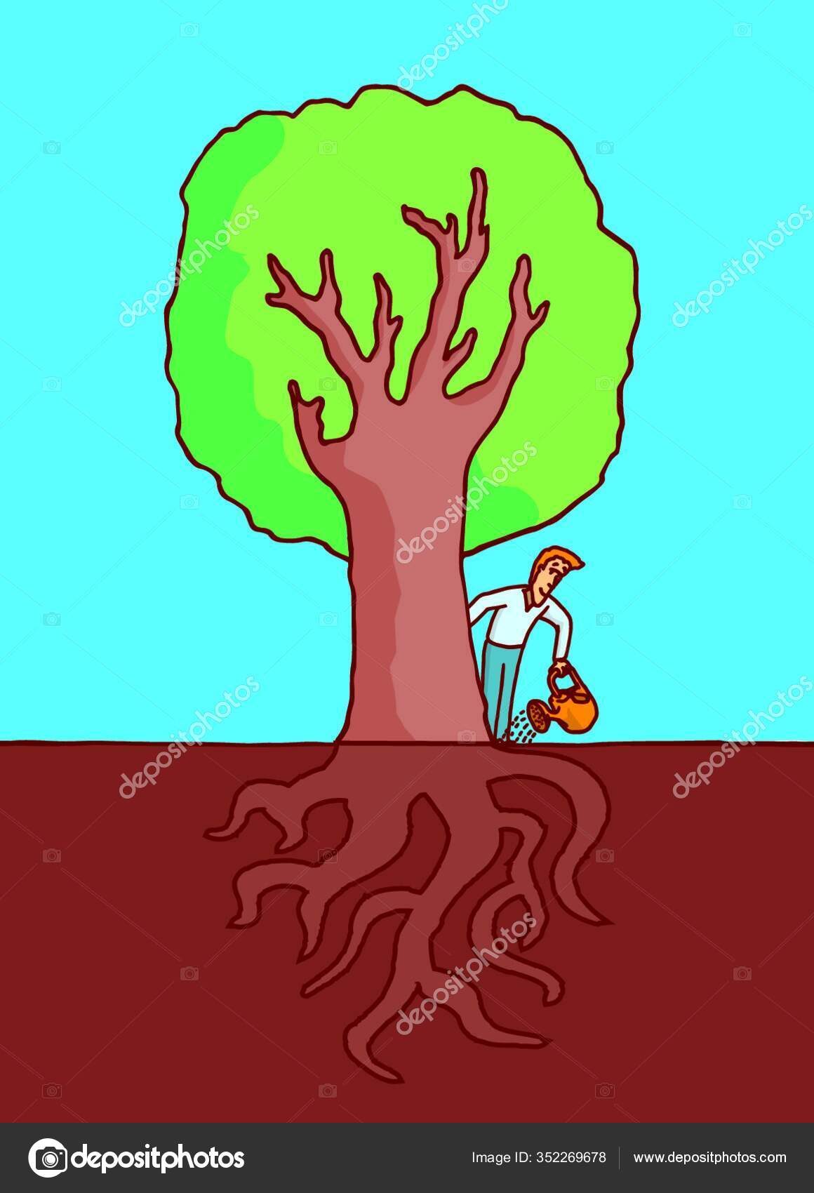 Cartoon Illustration Man Watering Big Tree Roots Ground Stock Vector C Panthermediaseller 352269678 Choose from over a million free vectors, clipart graphics, vector art images, design templates, and illustrations created by artists worldwide! https depositphotos com 352269678 stock illustration cartoon illustration man watering big html