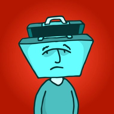 Cartoon illustration of a portfolio head man depressed about his business