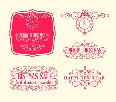 Merry christmas label with swirld design elements set. Happy new year collection. Vector illustration.