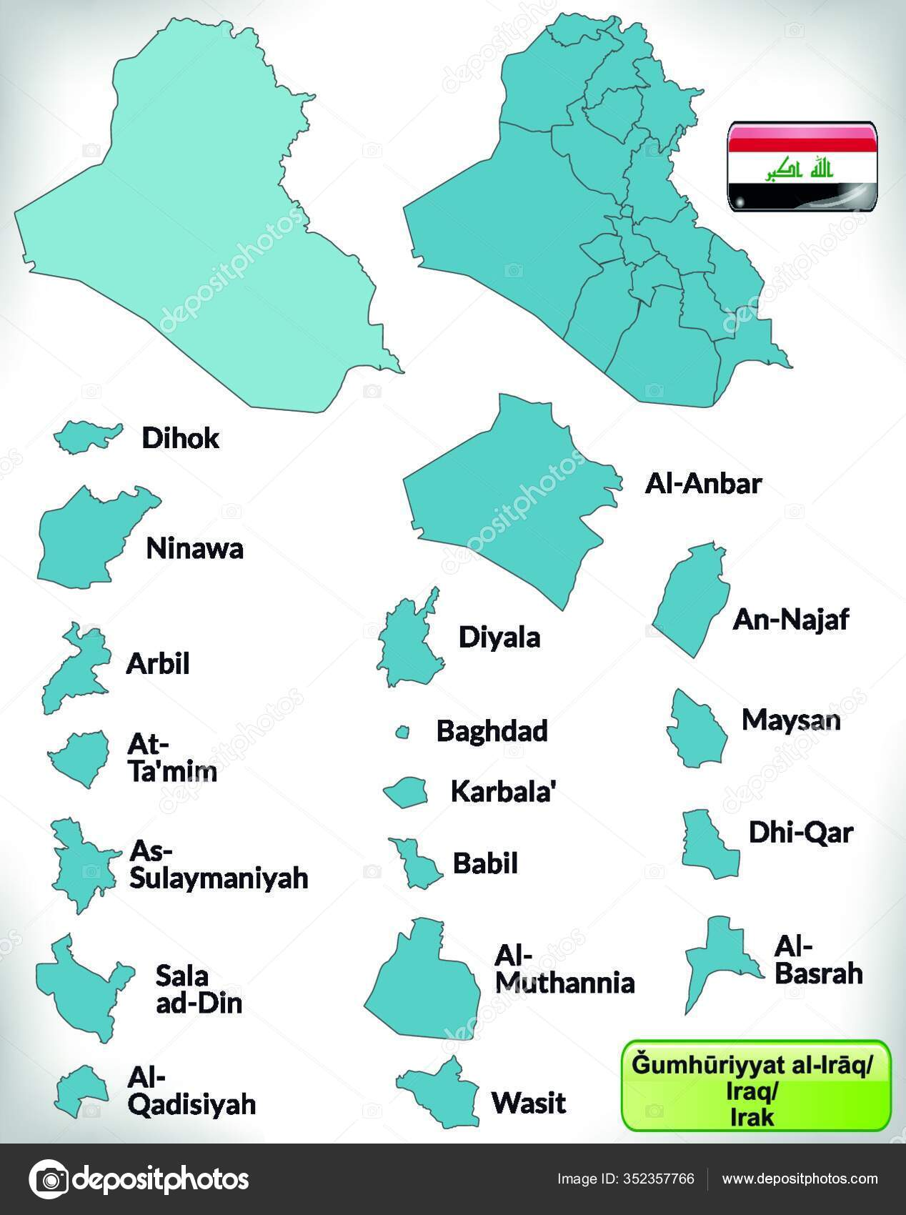 Iraq Asia Sebagai Peta Batas Dengan Batas Berwarna Biru Desain — Stok  Vektor © PantherMediaSeller #352357766